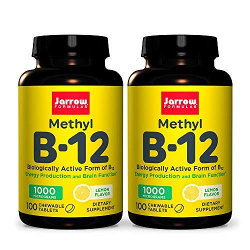 Jarrow Formulas Methyl B-12 1000 mcg - 100 Chewable Tablets, Lemon - Pack of 2 - Bioactive Vitamin B12 - Supports Energy Production, Brain Health & Metabolism - Gluten Free - 200 Total Servings