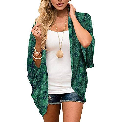 Yyh Cardigan-Sommer-strand-verflaag chiffon bloemen boho zomer cardigan Kimono blouse vrouwen X-Large groen bladeren