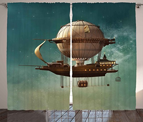 """Ambesonne Fantasy Curtains, Surreal Sky Scenery Steampunk Airship Sci Fi Stardust Space Image, Living Room Bedroom Window Drapes 2 Panel Set, 108"""" X 84"""", Teal and Brown"""