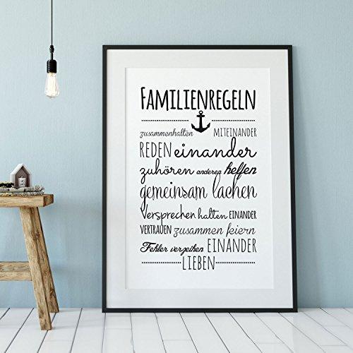 ilka parey wandtattoo-welt® A3 Print Familienregeln Illustration Poster Plakat Druck Hausordnung Familie lachen Vertrauen lieben. p80