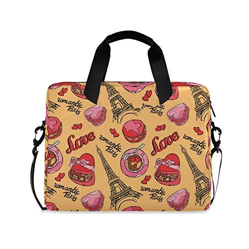 Laptoptasche, 39,6 - 35,6 cm (15,6 - 14 - 15 Zoll), Eiffelturm, Macaron, Kaffee, Herz, Liebe, tragbare Hülle, Aktentasche, verstellbarer Schultergurt und Griff
