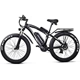 "GUNAI Electric Off-road Bikes Fat Bike 26"" 4.0 Tire E-Bike 1000w 48V 17AH Electric Mountain Bike with Rear Seat(Black)"