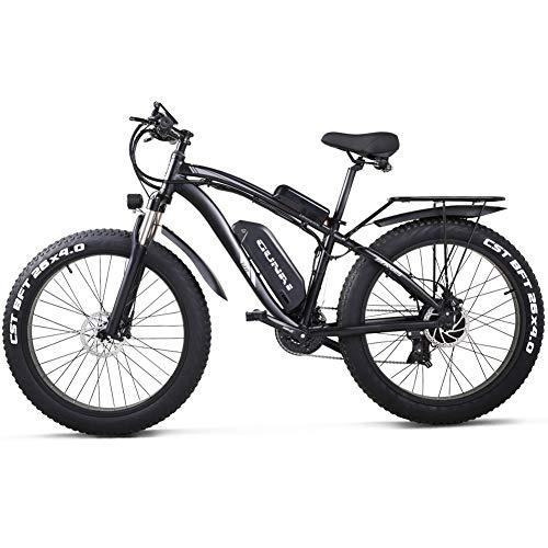 GUNAI Bicicletta Elettrica Pieghevole Bici da Montagna 48V 1000W Ebike con Batteria al Litio da 26Velocità Sospensione Completa Premium e Cambio con Sedile Posteriore(Nero)