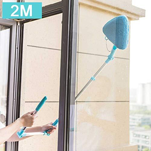 GLXQIJ 1,4 M-2M U Shaped Fensterputzer Werkzeug, Dreieck Window Washer Mit Teleskopstange, Winkel Einstellbar Sponge Kopf, Für Hohe Fenster Glas,Blau,2M