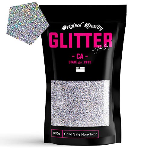 Silver Holographic Premium Glitter Multi Purpose Dust Powder 100g / 3.5oz for use with Arts & Crafts Wine Glass Decoration Weddings Cards Flowers Cosmetic Face Body (Packaging May Vary)