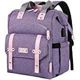 Laptop Backpack for Women, Anti Theft Backpacks with USB Charging Port RFID Anti Theft Water Resistant,Wide Top Open Work Teacher College School Travel Computer Bag for Woman Fits 15.6 Inch Laptop