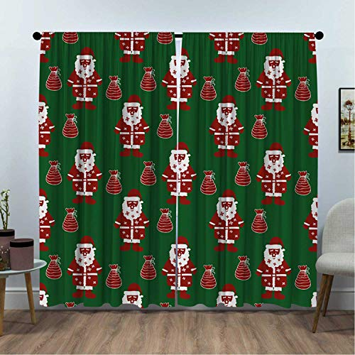SUZM Santa Claus Present Energy Saving and Noise reducing W63 x L63 Inch Rod Shaped Pocket Curtains for The Living Room Geometric White Green Ruby