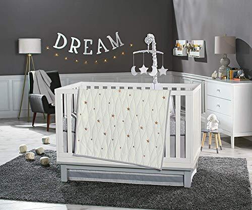 Koala Baby Sparkling Dreams Collection 4 Piece Crib Bedding Set White/Gold