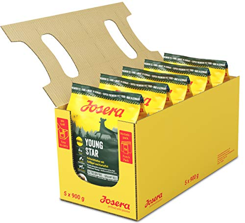 JOSERA YoungStar, getreidefreies Welpenfutter für mittlere und große Rassen, Super Premium Trockenfutter für wachsende Hunde, 5er Pack, (5 x 900 g)