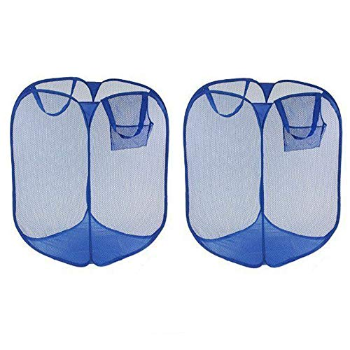 Tailbox Mesh Popup Laundry Hamper - Set of 2 Laundry Basket Folding Pop-Up Clothes Hampers with Durable Handles Solid Bottom High Carbon Steel Frame, Collapsible for Storage and Easy to Open (Blue)