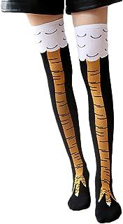 Wakerda, Wakerda 1 par de calcetines de invierno de algodón transpirable grueso calcetines de pie peinados de pollo patrón de tapicería calcetines para niñas amarillo amarillo 50cm