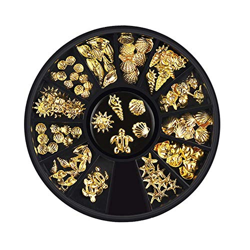Lookathot 1 Disc 12 Styles 3D Mixed Design Nail Art Stickers Decals Metallic Silver Marine Life Shell Star Sea Studs Rhinestones Accessories Manicure DIY Decoration Tools