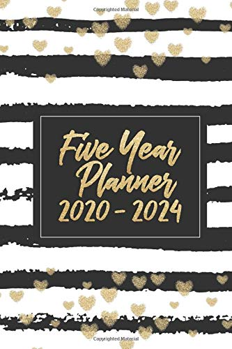 Five Year Planner 2020-2024: A 5 Year Month-by-Month Organizer | Minimalist Black Natural Stripes with Hearts Detail | Sunday Start Calendar