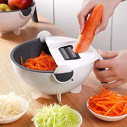 Cortador de verduras, pelador, rallador de patatas, pelador de ajos con expulsor de frutas con cesta de drenaje de gran capacidad 9 en 1 multifunción/color blanco