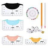 Tshirt Ruler Guide for Vinyl, T Shirt Rulers to Center Designs, 4Pcs PVC Shirt Ruler for Vinyl Alignment, Tee Ruler Guide for Applying Vinyl and Sublimation Heat Press Clothing Alignment Tools