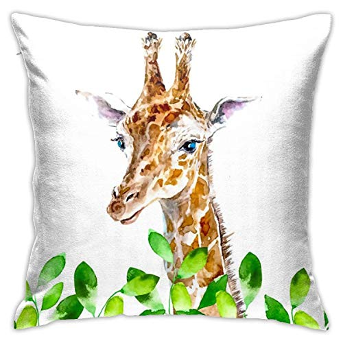 wteqofy Throw Pillow Covers Modern Decorative Throw Pillow Case Watercolor Giraffe and Leaves Pillow Covers Cushion Case for Room Bedroom Room Sofa Chair Car,18 X 18 Inch