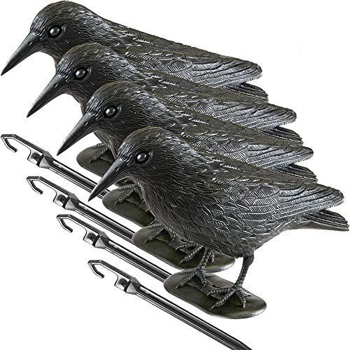 Covok Zwarte raven decoratie, kunstmatige ramen, natuurlijke schedling bestrijding, afweer van duiven, voor Halloween Decoratie Vogels Decoratie Leveringen Party Event Bar cadeau, zwart, 1 stuk 4 StüCk zwart