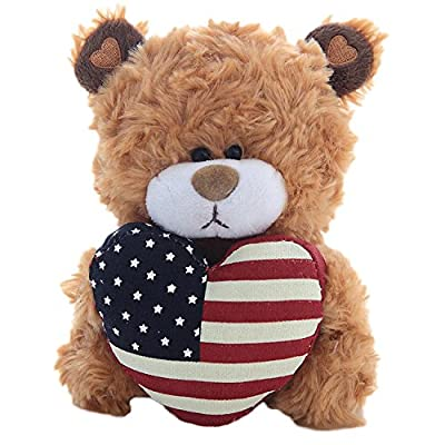 Plushland American Pillow Qbeba Bear, Plush Stuffed Animal Toy Holding a Heart Printed American National Flag on It, A Perfect Way to Celebrate Independence Day 4th July, for Kids (Brown)