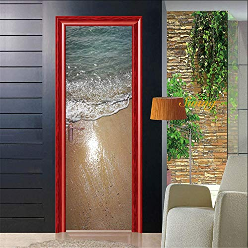 IKPHQF Etiqueta De La Puerta Dormitorio 3D Murales Playa Sol Vista Al Mar 77X200CM Vinilo Autoadhesivo Extraíble Sala De Estar Baño Pegatinas De Puertas Decoración Papel Pintado Puertas
