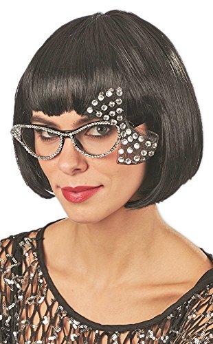 Andrea-Moden Cat Eye Brille mit Strass und Schleife - Schwarz Kristall - Toll zum 50er 60er Jahre Rockabilly Kostüm