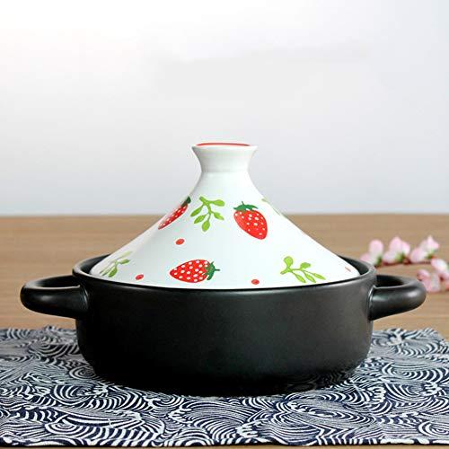 XUYONGZ Olla de tagine marroquí con asa, 20 cm, olla de cerámica, tapa de cazuela, olla de arroz, resistencia a altas temperaturas, olla de cocción lenta Taji hecha a mano pintada a mano Ce
