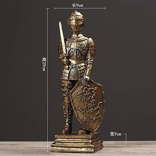 ZGQA-GQA Adornos estatuas escultura medieval retro creativo romano valiente soldado ornamentos decorativos caballero hogar sala ventana accesorios regalos