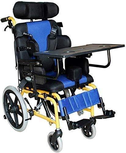 Nuokix Sillón de ruedas mayor de los niños en sillas de ruedas, mesa plegable luz del coche del niño con la media plana, con Anti-Inclinación del dispositivo, azul, azul, 52x100x101CM Apto para person