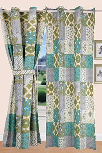 All American Collection New Printed Modern Geometric Bedspread Coverlet Quilt Set (Panel, Blue/Green & Yellow)