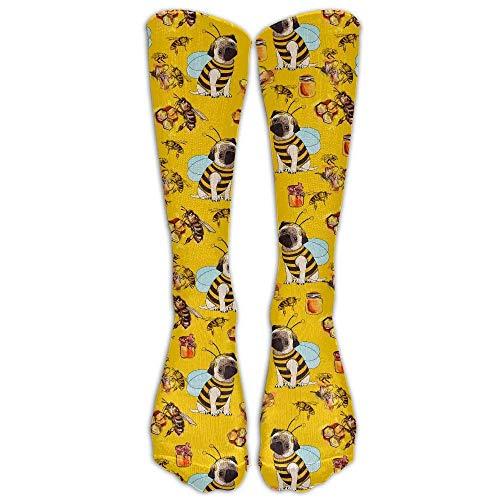 xinfub Bulldog and Bee Kompressionssocken für Fußballsocken mit hoher Socken, 50 cm, bequem, 6508