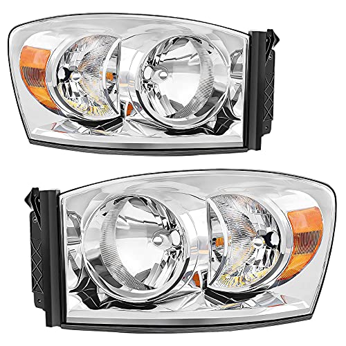 AUTOSAVER88 Headlight Assembly Compatible with 2006-2008 Dodge Ram 1500/2006-2009 Dodge Ram 2500 3500 Replacement Headlamp Driving Light Chromed Housing Amber Reflector