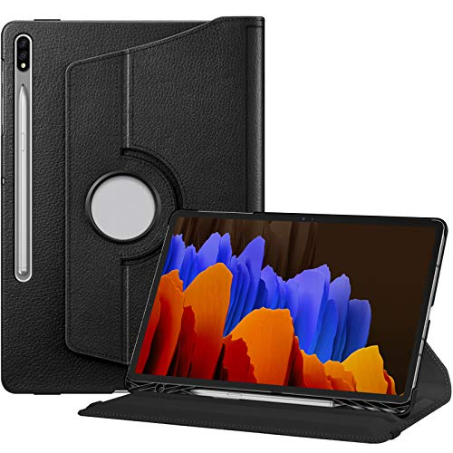 FINTIE Rotating Case for Samsung Galaxy Tab S7 Plus S7+ 12.4'' 2020 SM-T970/975/T976, [Built-in S Pen Holder] 360 Degree Swivel Stand Cover with Auto Sleep/Wake Feature, Black
