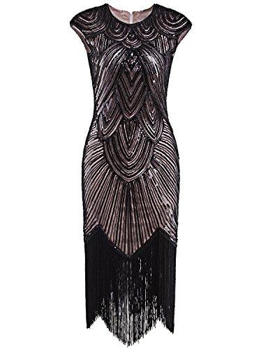 Vijiv 1920's Long Prom Dresses Beaded Sequin Art Nouveau Deco Flapper Dress, Black Pink, M
