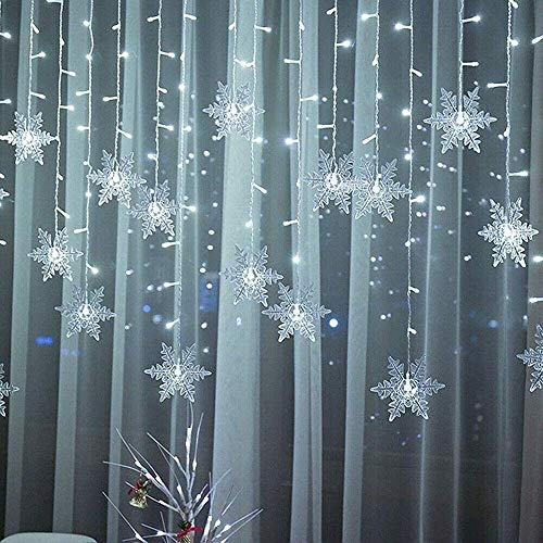 QTMHT LED Curtain String Lights 3.5M Snowflake Lights Outdoor Waterproof Decorative Ice Cone Light String for Christmas Window Party Garden Patio Decoration,white