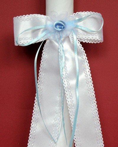 Celebration Kerzenschmuck Kerzenschleife Satin blau KS-005