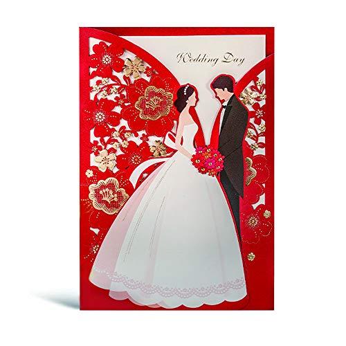 WISHMADE 20Pcs Rot Hochzeitseinladungskarte mit Braut und Bräutigam Flora Design für die Hochzeit Brautdusche lädt inkl Umschläge und Aufkleber