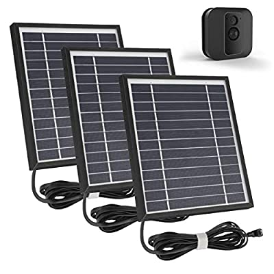 iTODOS 3 Pack Solar Panel Works for Blink XT XT2, 11.5Ft Outdoor Power Charging Cable and Adjustable Mount,Weatherproof, Power Your Blink Camera continuously - Black