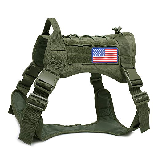 W/W Lifetime Tactical Dog Harness Vest Large Medium with Velcro Area for Tactical Patches, Outdoor Training Hiking Hunting Military Patrol K9 Dog Harness with American Flag(Green, M)