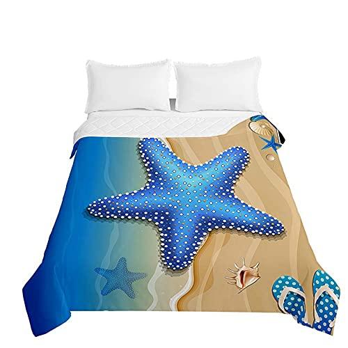 Oduo Colcha de Verano Cubrecama Edredón Acolchada Suave y Multiuso - 3D Estrella de Mar Colcha Bouti Microfibra Lavable para Cama de Infantil Individual Matrimonio (Océano Azul,130x150cm)