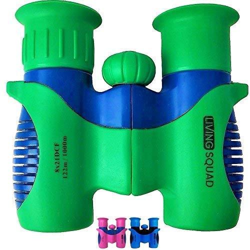 Living Squad Kids Binoculars 8x21 - Shock Proof Toy Binoculars Set w/Real Optics - Bird Watching, Hunting & Hiking Birthday Present for Girls and Boys (Green)