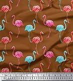 Soimoi Braun Viskose Chiffon Stoff Flamingo Vogel Stoff