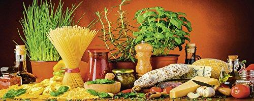 Artland Qualität I Glas Küchenrückwand ESG Spritzschutz Küche 120 x 48 cm Gemüse Digitale Kunst Bunt G5TN Mediterranes und Italienisches Essen mit Nudeln Käse Wurst Kräutern und Gewürzen