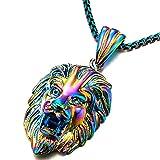 COOLSTEELANDBEYOND Exclusivo Colores Cabeza de León Collar con Colgante de Hombre Mujer, Acero Inoxidable con 61cm Cadena de Trigo