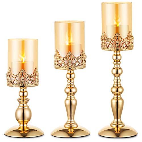Nuptio Säulenkerzenhalter mit Glas, 3er Set Hurricane-Kerzenhalter aus Gold Moderne Wohnkultur Geschenke, Kerzenlichthalter für Einweihungspartys Zum Hochzeitstag