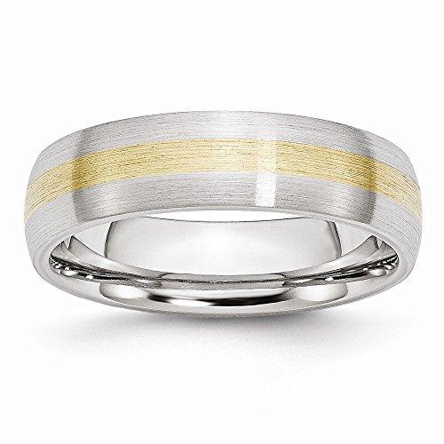 Saris and Things Gold-Inlay Satin 6mm-Band-Ring 14k Cobalt 9.5 größe