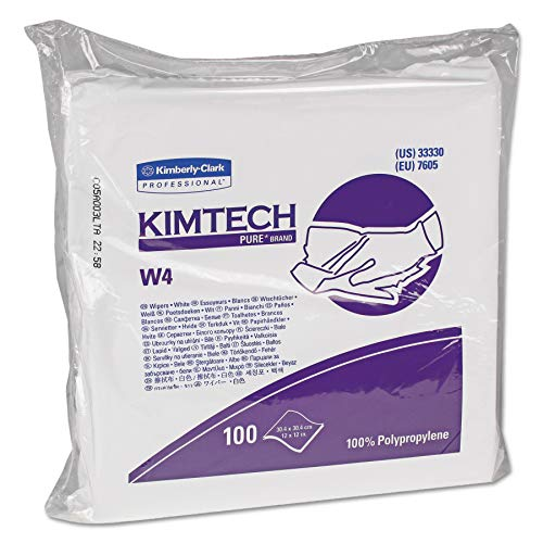 Kimberly-Clark Kimtech 33330 Pure Disposable Wiper with W4 Dry, 12' Length x 12' Width, White, (5 Pack of 100)