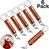Bottle Punch Can Opener Stainless Steel Beer Bottle Opener Punch Bottle Opener with Wood Handle for Manual Bottles Cans (6, Wood Color)