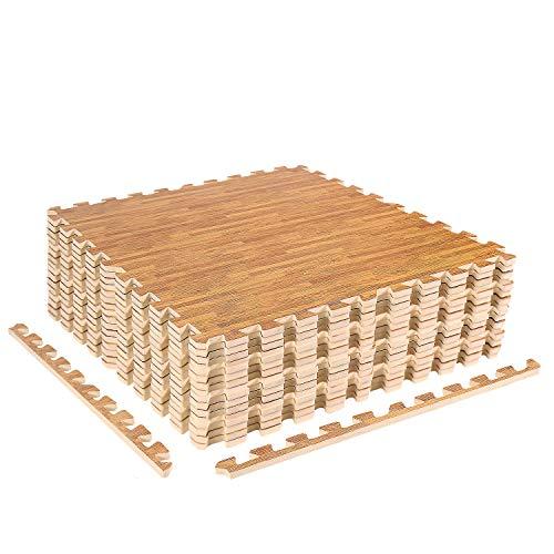 ZERRO CCLIFE Esterilla Puzzle para Suelos de Gimnasio y Fitness 60x60x1cm Suelo de Gimnasio de Goma Espuma EVA, Color:Color de Madera 16pcs