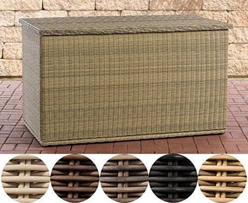 CLP Poly-Rattan Auflagenbox Comfy Ø 5 MM I Für Gartenpolster I Wasserdicht, Farbe:Natura, Größe:125 Liter