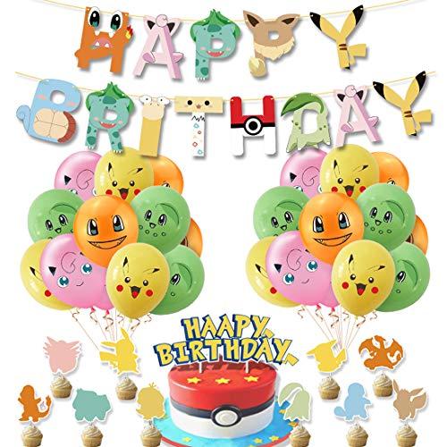 Decoración para Fiestas de Cumpleaños-YUESEN Pokemon Suministros para fiesta Decoraciones Cumpleaños Banner Pikachu Globos Cake Toppers para Niño Celebraciones y Suministros(34pcs)