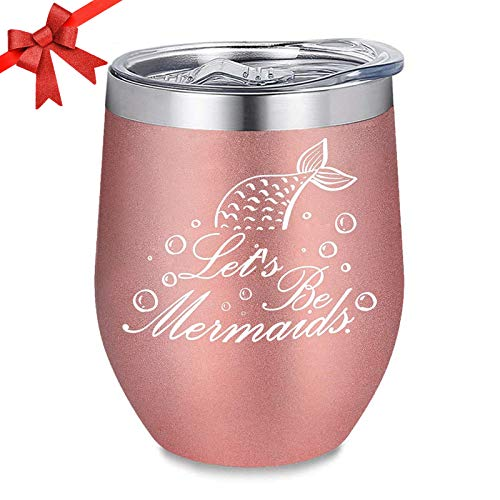 BOENFU Birthday Gifts for Women - Let's be mermaids - Wine Tumbler with BPA-Free Lid & Straw - Perfect Gifts for Christmas, Mother's Day, Valentine's Day, Wife, Mother, Her, Female, Friends - 12oz